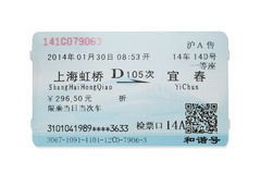 China high-speed train ticket Stock Images