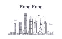 China hong kong city skyline. Architecture landmarks and buildings vector line panorama Stock Images