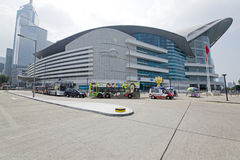 China, Hong Kong Convention and Exhibition Centre in Wan Chai, Hong Kong Golden Bauhinia Square Stock Photography