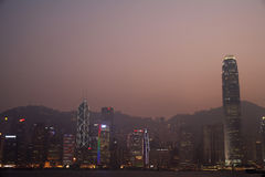 China Hong Kong skyline at sunset Stock Photo