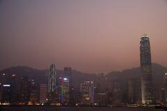 China Hong Kong skyline at sunset Stock Photo