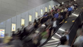 China hong kong ws people moving on a busy escalator stock video footage
