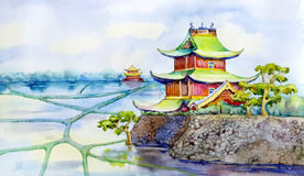 China house. Landscape with a traditional Chinese pagoda Stock Image