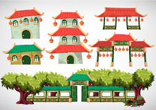 China house objects for the game and animation, game design asset. stock photos