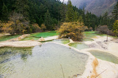 China Huanglong calcification pool of sichuan Stock Photography