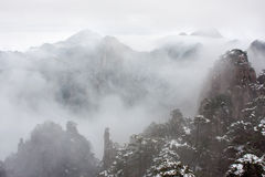 China Huangshan. The quarter under misty winter Huangshan Snow Stock Images