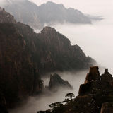 China Huangshan landscape. He snow after misty Huangshan beauty stock photo