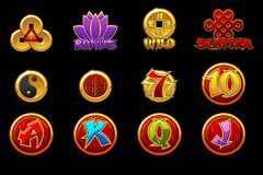 China icons for casino machines slots game with Chiese Symbols. Slots icons on separate layers. China icons for casino machines slots game with Chiese Symbols vector illustration