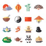 China icons set. China travel asian traditional culture symbols icons set isolated vector illustration stock illustration