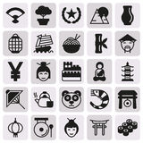 China icons set, Vector illustration. On button Stock Illustration