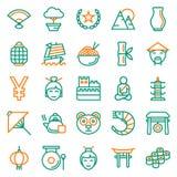 China icons set, Vector illustration. On white background Royalty Free Stock Photography