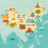 China illustrated map, hand drawn vector illustration for kid and children. Chinese travel landmarks/attraction Stock Photo