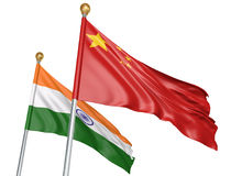China and India flags flying together for important diplomatic talks, 3D rendering. National flags from India and China flying side by side to represent Royalty Free Stock Photography