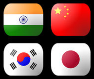 China India Japan Korea Flag Royalty Free Stock Images