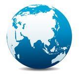 China, India, Malaysia, Philippines, Japan Planet World Globe, Earth Icon. China, India, Malaysia, Philippines, Thailand, Indonesia, Japan Vector Map Icon of the Royalty Free Stock Image