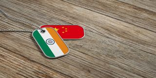 China and India military relations, Identification tags on wooden background. 3d illustration. China and India military relations, Identification dog tags on Royalty Free Stock Photos