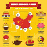 China infographic concept, flat style Royalty Free Stock Photography
