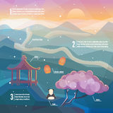 China infographics. China Eastern landscape. Mountains, nature with traditional Chinese elements. Low polygon style flat illustrations. For web and mobile phone Royalty Free Stock Images