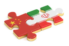 China and Iran puzzles from flags, 3D rendering Stock Photos