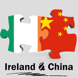 China and Ireland flags in puzzle Royalty Free Stock Image