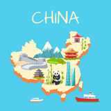 China with its Traditional Elements Signs on Blue Stock Image
