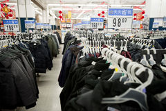 China: Jackets in Walmart supermarket Stock Photography