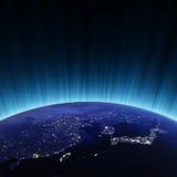 China and Japan. Maps from NASA imagery Royalty Free Stock Photo