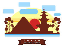 China, Japan. Colorful flat illustration. China, Japan. Colorful flat landscape with mountains, trees, pagoda, sakura, river, sky red sun National symbols Asia Royalty Free Stock Photography