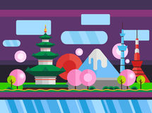 China, Japan. Colorful flat illustration Royalty Free Stock Photo