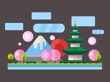 China, Japan. Colorful flat illustration Stock Photography