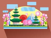 China, Japan. Colorful flat illustration. China, Japan. Colorful flat landscape with mountains, trees, pagoda, sakura, river, sky red sun National symbols Asia Stock Photo