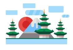 China, Japan. Colorful flat illustration. China, Japan. Colorful flat landscape with mountains, trees, pagoda, sakura, river, sky red sun National symbols Asia Royalty Free Stock Image