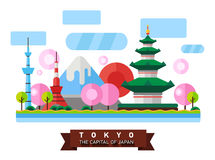 China, Japan. Colorful flat illustration. China, Japan. Colorful flat landscape with mountains, trees, pagoda, sakura, river, sky red sun National symbols Asia Stock Photos