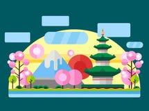 China, Japan. Colorful flat illustration. China, Japan. Colorful flat landscape with mountains, trees, pagoda, sakura, river, sky red sun National symbols Asia Stock Photography