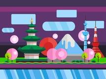 China, Japan Kleurrijke vlakke illustratie vector illustratie