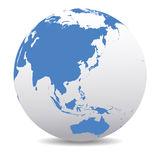 China, Japan, Malaysia, Thailand, Indonesia, Global World. Vector Map Icon of the World Globe Royalty Free Stock Image