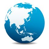 China, Japan, Malaysia, Thailand, Indonesia, Global World Planet Earth Icon. China, Japan, Malaysia, Thailand, Indonesia, Vector Map Icon of the World Globe Royalty Free Stock Photos