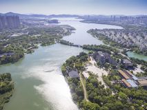 Aerial view of city waterfront building Royalty Free Stock Images