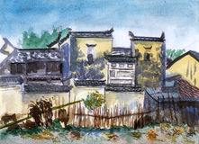 China jiangxi village watercolor Royalty Free Stock Image