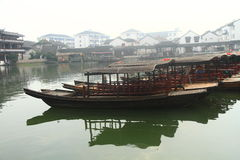China ,Jinxi Water Village, Dark mat boats at Jinxi ancient Town Royalty Free Stock Image