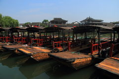 China ,Jinxi Water Village, Dark mat boats at Jinxi ancient Town Stock Photo