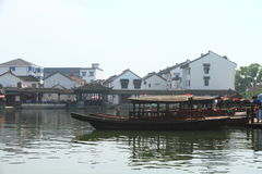 China ,Jinxi Water Village, Dark mat boats at Jinxi ancient Town Stock Photography