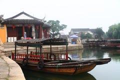 China ,Jinxi Water Village, Dark mat boats at Jinxi ancient Town Royalty Free Stock Photography