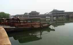 China ,Jinxi Water Village, Dark mat boats at Jinxi ancient Town Stock Image