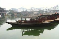 China ,Jinxi Water Village, Dark mat boats at Jinxi ancient Town Royalty Free Stock Image