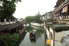 China ,Jinxi Water Village,People row a boat Royalty Free Stock Photo