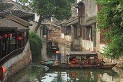 China ,Jinxi Water Village,People row a boat Royalty Free Stock Photography