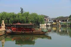 China ,Jinxi Water Village, Dark mat boats at Jinxi ancient Town Royalty Free Stock Photo