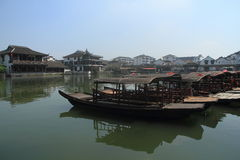 China ,Jinxi Water Village, Dark mat boats at Jinxi ancient Town Stock Photos
