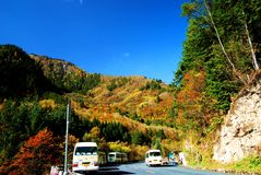 China Jiuzhaigou, the most beautiful bus station. Stock Images